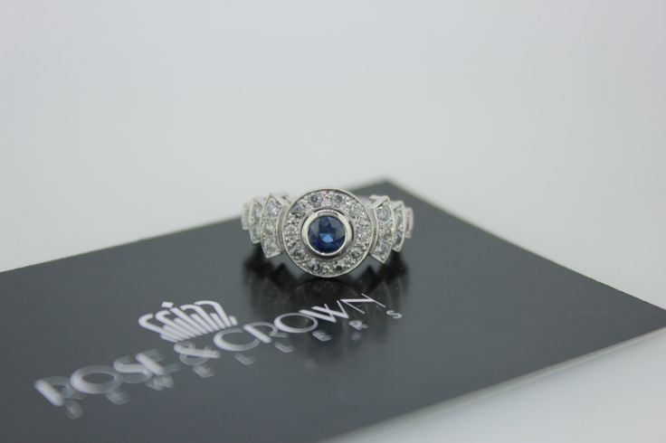 Engagement ring. Diamond. Art deco design. Hand-made in Melbourne. Platinum. Diamond. Sapphire. #roseandcrownjewellers #artdeco #engagement #diamond