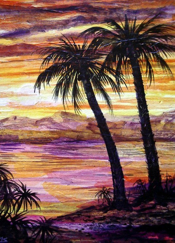 Palm Tree Sunset Mountains Ocean Island Hawaii Silhouette Original