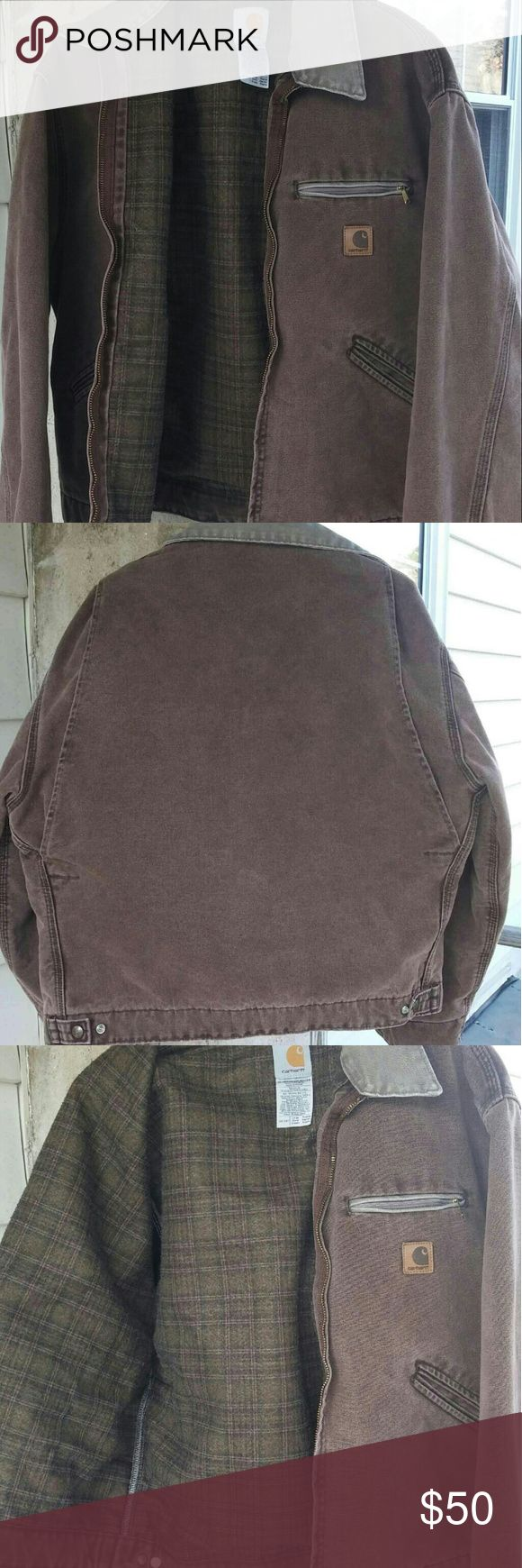 Carhartt Jacket *Authentic* Carhartt Detroit jacket.  Size Large. Brown with green on collar and zipper front pocket.  Inside is a dark green/brown plaid poly flannel lining. My dad's jacket.  Was a gift...not his favorite.  He wore it twice.  Excellent used condition! Carhartt Jackets & Coats