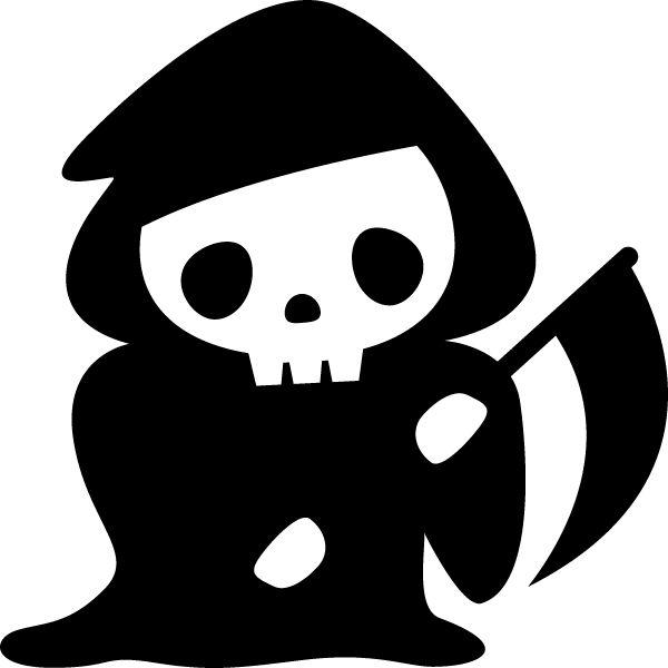 死神のモノクロ・シルエットイラスト