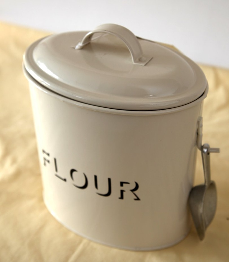 Cream Enamel Flour Tin Shabby Chic Vintage Kitchen
