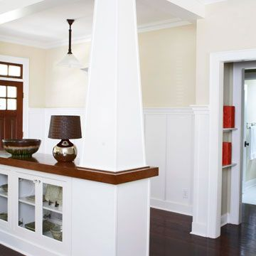 Knee walls: Dining Rooms, The Doors, Living Rooms, Built In Bookca, Front Rooms, Rooms Dividers, Half Wall, Entry Hall, Low Bookcases