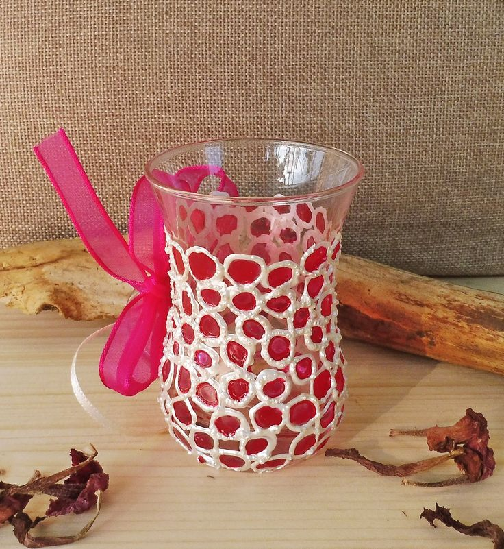 Painted Bubbles Cup | Hand Painted Mugs | Cup and Bow-Knot | Painted Glass Ornaments | Glass Cup Gift | Painted Glass Cup | Pink Bubbles Mug by MariGlassAtelier on Etsy