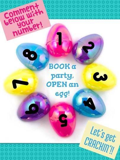 Book a party and pick an egg for a prize! It can be a home or catalog/facebook/online party! Your prize will be added onto your party when it closes.