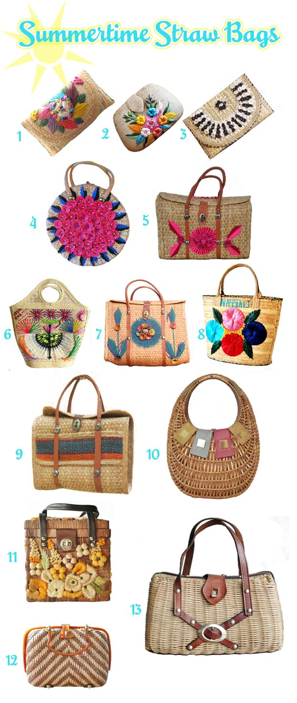 Vintage straw handbags from Etsy, perfect for summer!