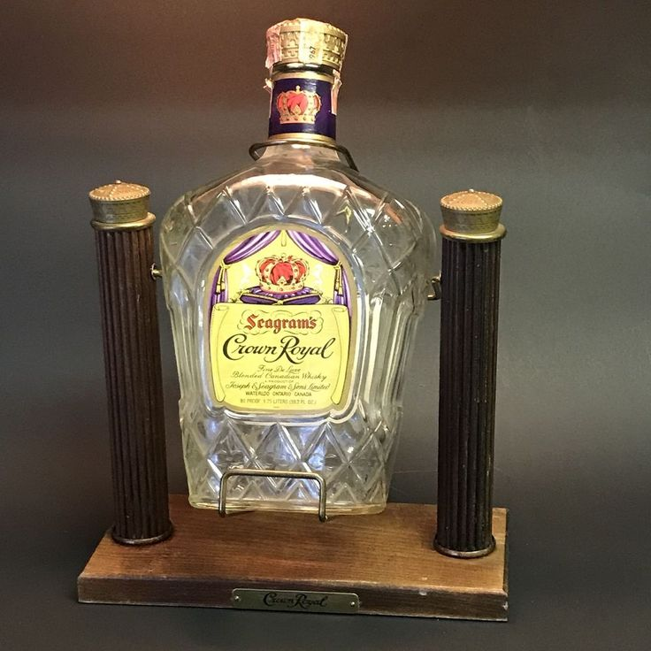 Crown Royal Whiskey Bottle with Cradle Swing Display Stand VTG Empty Man Cave  #CrownRoyal