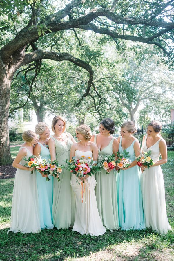 mint + aqua bridesmaid dresses | Aaron & Jillian Photography #wedding | www.endorajewellery.etsy.com