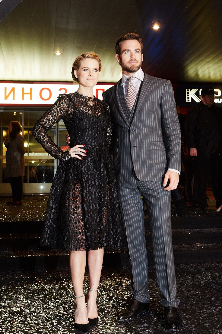 Alice Eve and Chris Pine pose at the Moscow premiere of Star Trek Into Darkness!