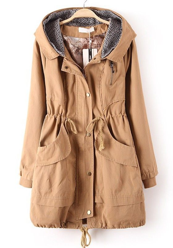 / Khaki Zipper Drawstring Pockets Cotton Blend Trench Coat: