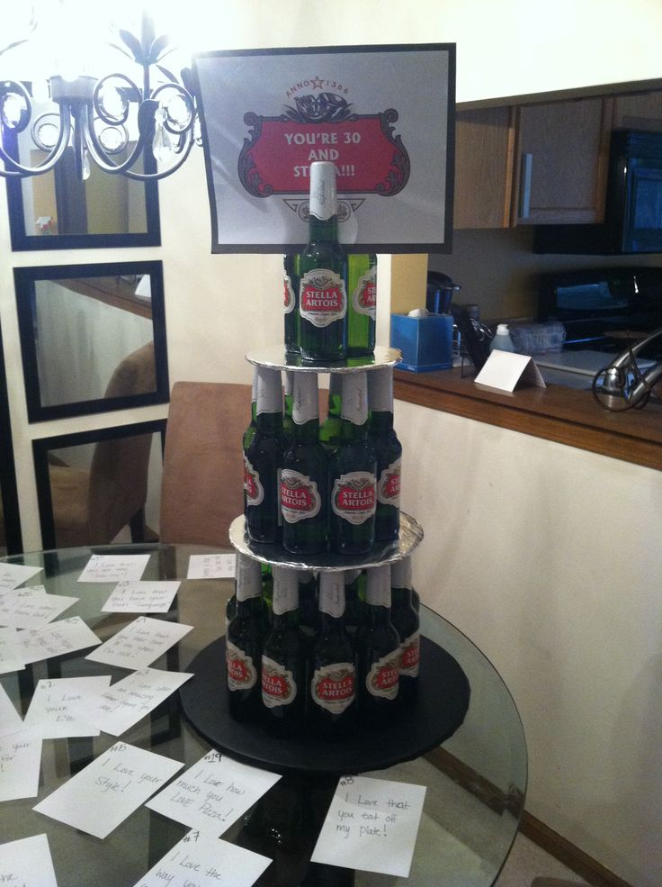 """I wanted to surprise my boyfriend for his 30th birthday with something I knew he would love so I made a Stella beer bottle Birthday Cake (drinkable) and on the top was a sign that says """"you're 30 and Stella!!!"""" He loved it!!!!"""