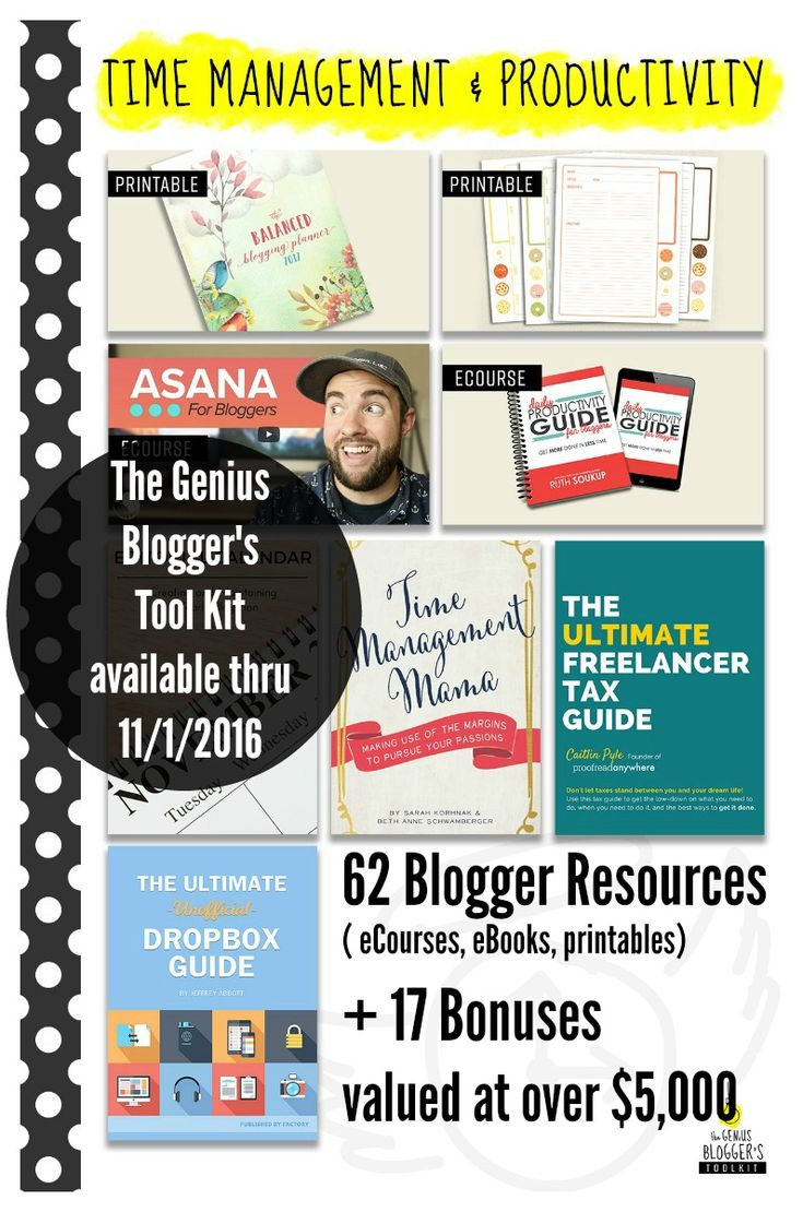 Purchasing the The Genius Bloggers Tool Kit is a once-in-a-lifetime opportunity to get an EPIC collection of blogging tools for one (incredibly affordable!) price. Resources cover: social media, email marketing, product creation (courses & ebooks), productivity & time management, photography skills, content creation, and solving technical issues. Hurry! It's only available until 11/1. (affiliate)