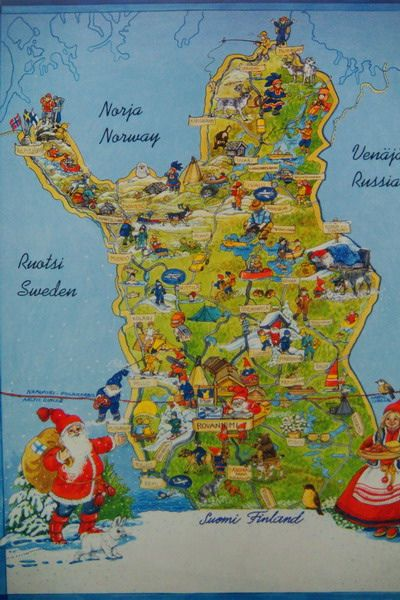 Lapland Finland, map!! _______ and here lives the Santa Claus and all elves