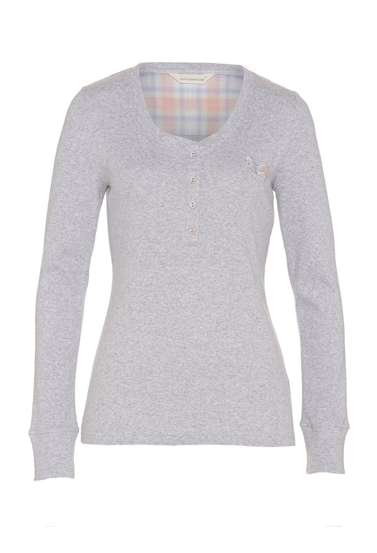 Check Trim Long Sleeve Top | Peter Alexander