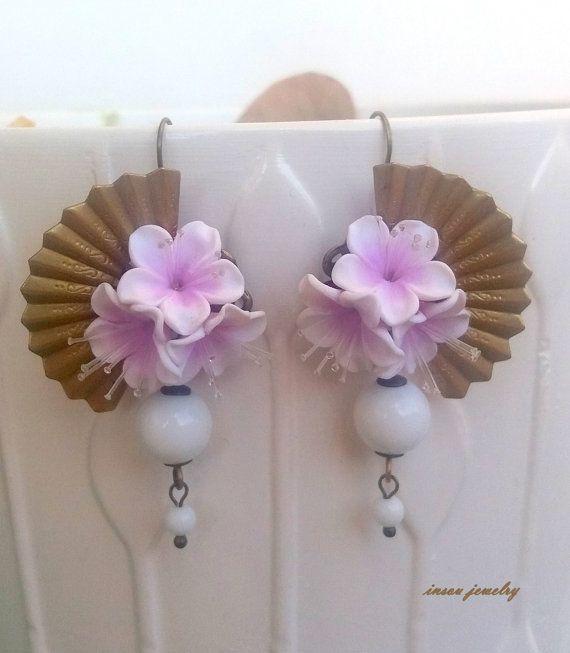 Pink Earrings Sakura Cherry Blossom Flower by insoujewelry on Etsy