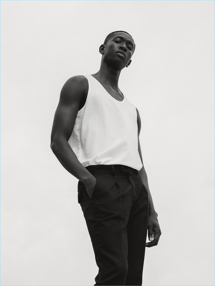 Ben Grieme photographs Fallou Diaw in a black and white look from Saturdays NYC's pre-fall 2017 collection.