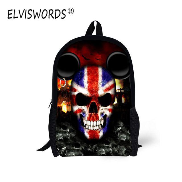 ELVISWORDS Cool Skull Print Children School Bags Boy Style Kids Comfortable Daily Book Bag for Student Teenage Mochila Masculina