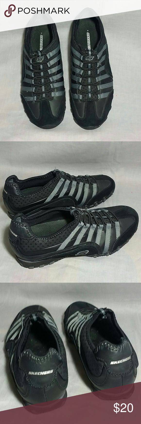 Skechers Slip-on Shoes 6 M leather Black / Gray Item is in a good condition, NO PETS AND SMOKE FREE HOME. skechers  Shoes Flats & Loafers