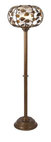 IMAX Victorian Floor Lamp - Designer Nikki Chu takes Victorian style for a spin with a slender floor lamp capped with a sphere of trailing ivy surrounding a glass cylinder.