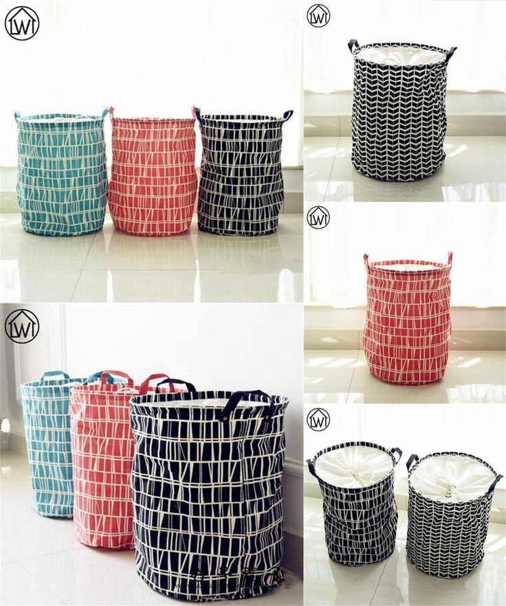 [Visit to Buy] Scandinavian 35x45cm Canvas Fabric Foldable Storage Basket ,Black Geometric Pattern Laundry Basket Kids toy storage basket Zakka #Advertisement