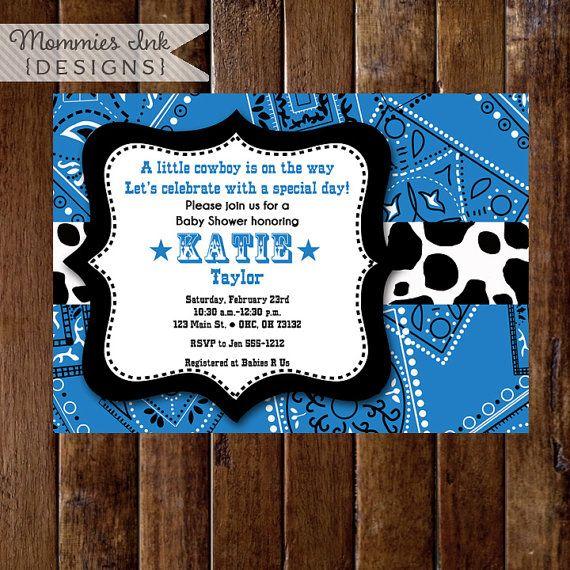 Western Cowboy Blue Bandana Baby Shower Invitation  by MommiesInk