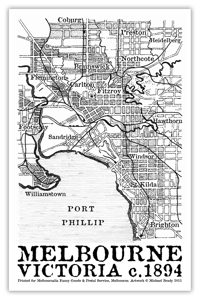 Melbourne c.1894 tea towel design for Melbournalia featuring an illustration based on a rare map of Melbourne's inner suburbs from the 1890s.  The design was further developed on computer, with text additions and image edits. Printed on 100% linen. Michael Brady designs