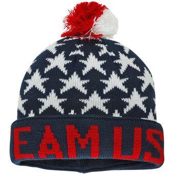 Men's Navy Team USA Stars Cuffed Knit Hat With Pom