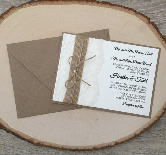 Invitation de mariage rustique dentelle et par RusticInvitesAndmore