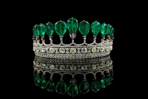 German Tiara w/ Columbian emeralds(552cts.) & diamonds.