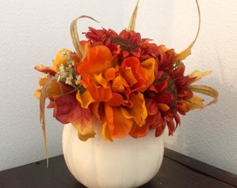 White Pumpkin Centerpiece Thanksgiving by BriEllaCreations on Etsy