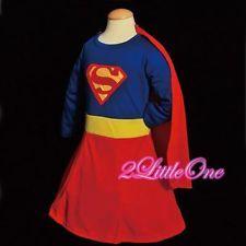 Superwoman Girl Superhero Hero Fancy Party Dress Up Costume Toddler Sz 3T-4T 003
