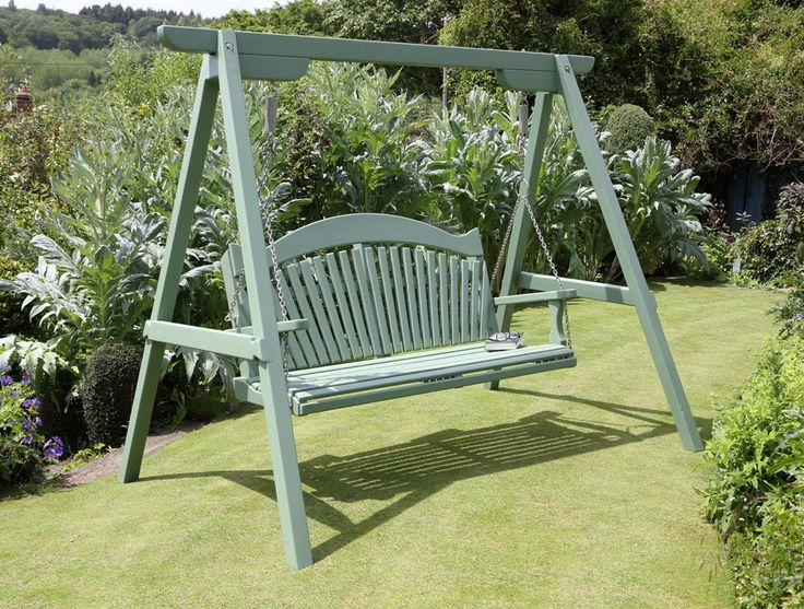 harmony swing seat painted in farrow ball calke green