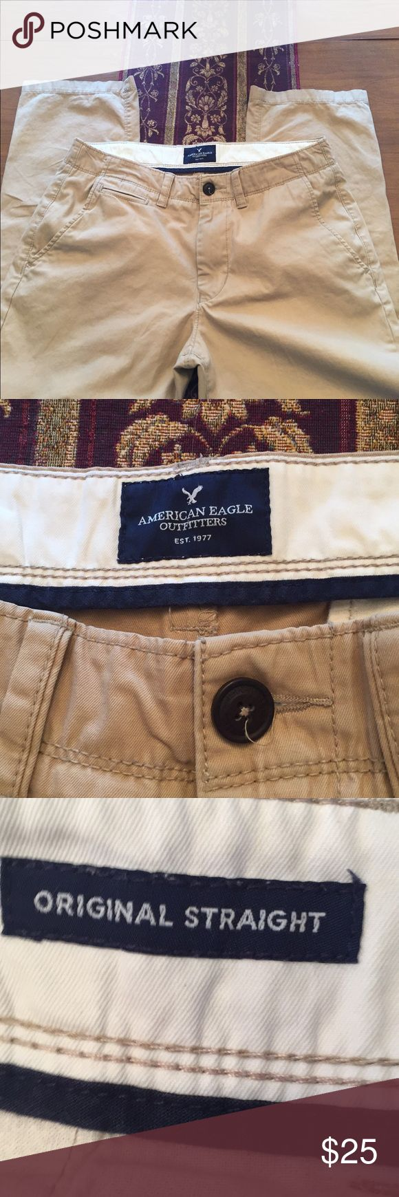 Men's American Eagle straight leg khaki pants American Eagle classic straight khakis in great condition.  Perfect for work and out to dinner. Dress them down with sweatshirt and Vans American Eagle Outfitters Pants Chinos & Khakis