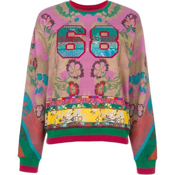 Etro sequin patterned 68 jumper ($880) via Polyvore featuring tops, sweaters, multicolor sweater, sequined sweaters, colorful sweaters, multi color sweater and purple jumper