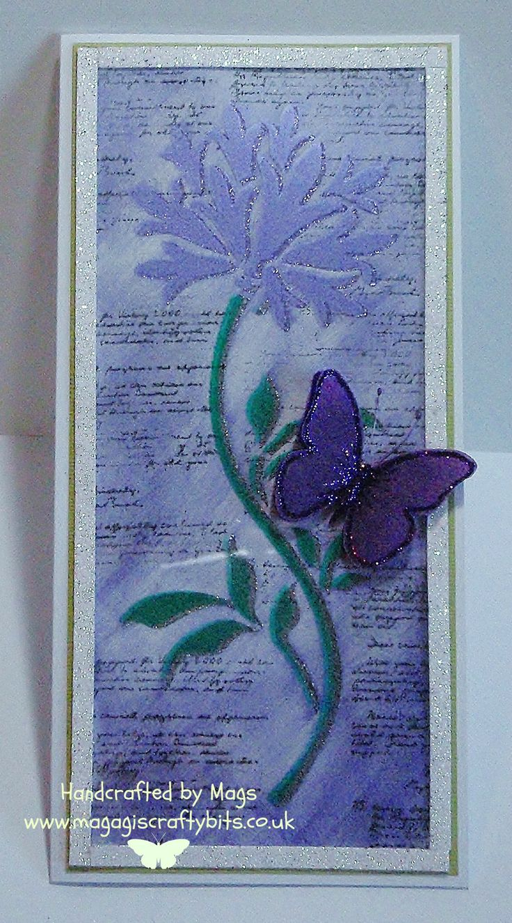 Meadow Flower panel stencil, sparkle medium and silkies