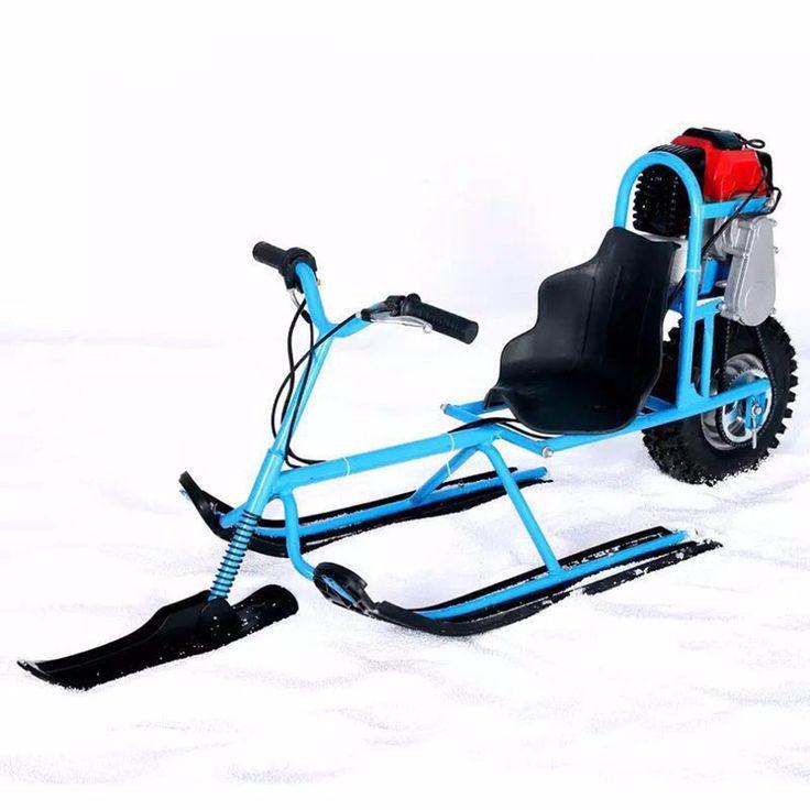 Vehículo de Placa Única de Combustible de Motos de Nieve Esquí eléctrico Direccional Trineos Tablas de Esquí Para Los Niños de Esquí Equipos