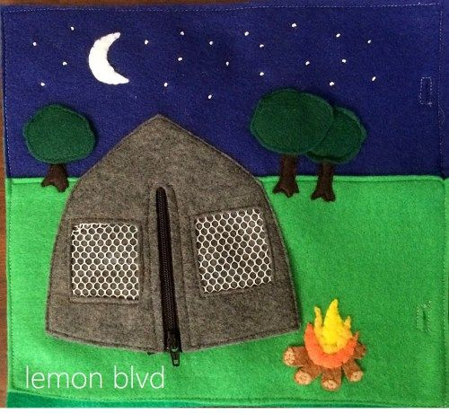 Camping Quiet Book Page - lift the flap on the trees, unzip the tent - lemon blvd