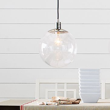 Globe Pendant #WestElm perfect for over the table or as bedside lighting