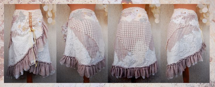 The Yasmin wrap around skirt Patchwork on cotton canvas and white lace. Handmade with love. <3