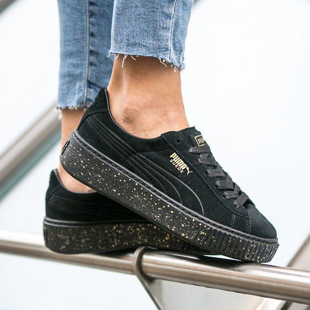Puma Suede Platform Speckle Women Shoes On Feet