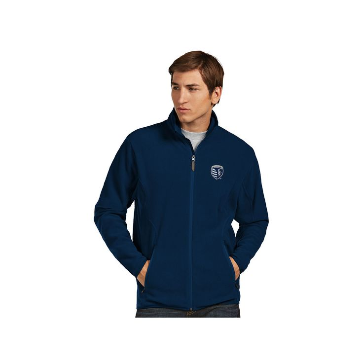 Men's Antigua Sporting Kansas City Ice Polar Fleece Jacket, Size: Large, Blue (Navy)