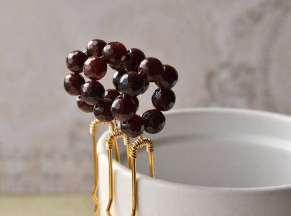 Gemstone Hair Pin Garnet Gemstones Bridal Hair by KittyBallistic