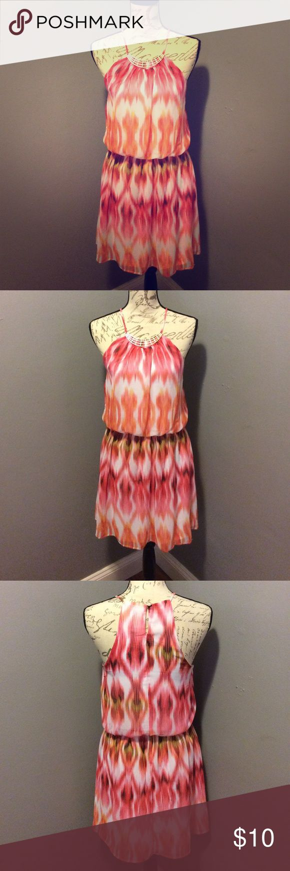 Never worn Beautiful Spring/Summer dress Orange Pink White pull over dress never worn with tags Charlotte Russe Dresses