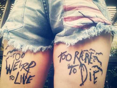 Slogan of life. Tattoos for Girls | More tattoos at igotinked.com HATE THE PLACEMENT AND FONT