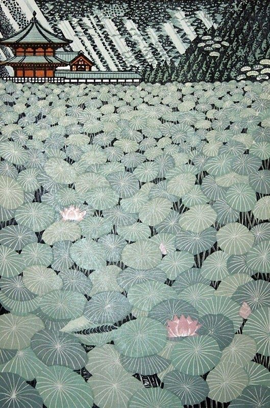 """""""Lotus Pond"""" woodblock 2007 by Ray Morimura (b. 1948, Tokyo) #art #woodblock"""