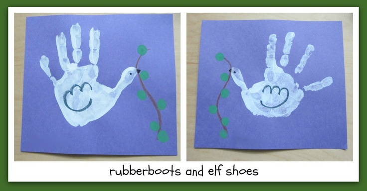 Dove Handprint Painting. Blue Background. rubberboots and elf shoes: give peace a chance