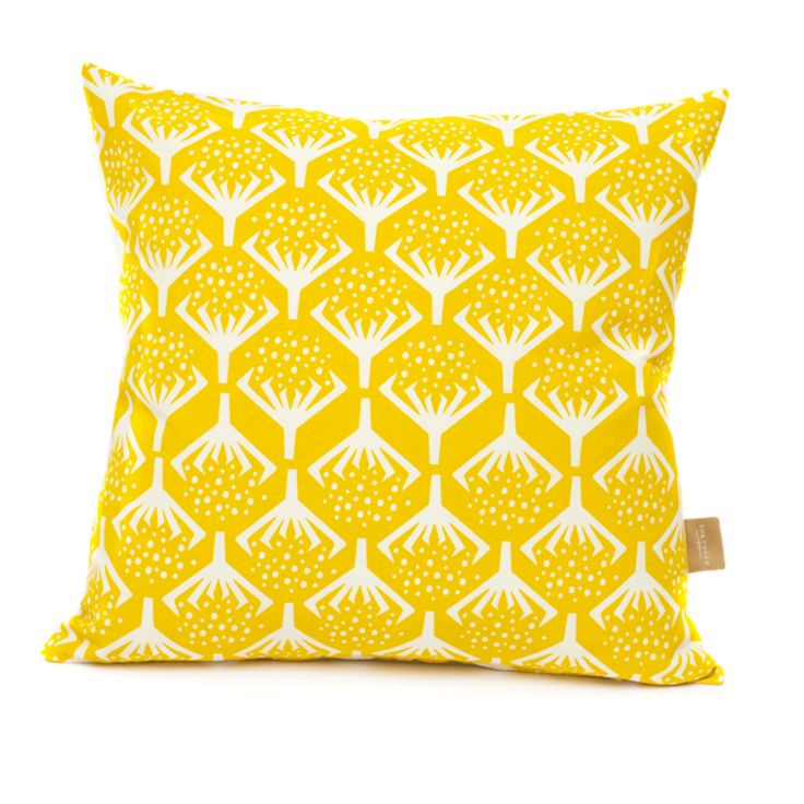 Seedhead print in warm yellow. Handprinted in The Netherlands.