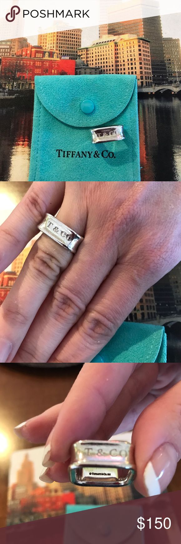 Tiffany & Company 1837 collection square ring Beautiful, Tiffany and Company square ring.  Size 6 3/4.  In very good condition.  With duster bag.  Sterling silver Tiffany & Co. Jewelry Rings