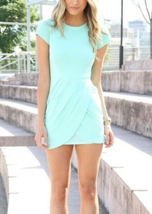 Beautiful mint color summer mini dress for ladies