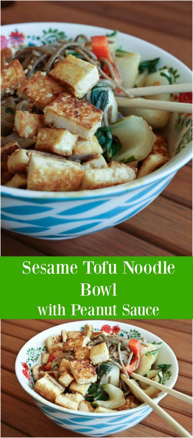 Sesame Tofu Noodle Bowl with Peanut Sauce   Recipe ...