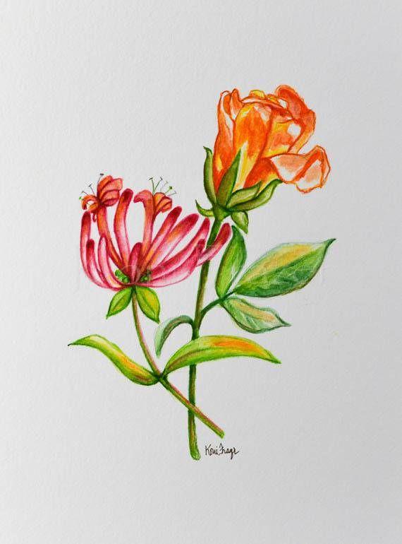 June Birth Flower Tattoo : birth, flower, tattoo, Honeysuckle, Birthday, Flower, Original, Birth, Month, Flowers,, Tattoos,, Tattoos